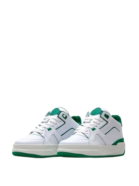 Luxury Courtside Low Sneakers White and Green
