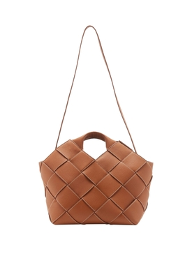 Tan Woven Basket Bag