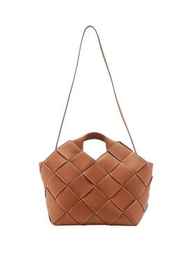 Tan Woven Basket Bag