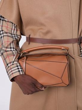 Leather puzzle shoulder bag LIGHT CARAMEL
