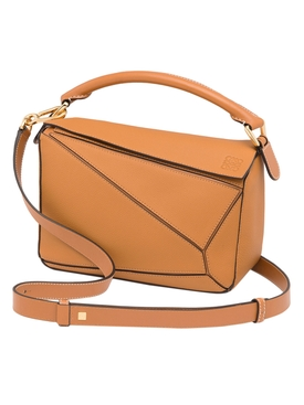 Leather puzzle shoulder bag LIGHT CARAMEL