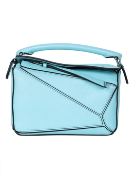 Leather mini puzzle bag LIGHT BLUE