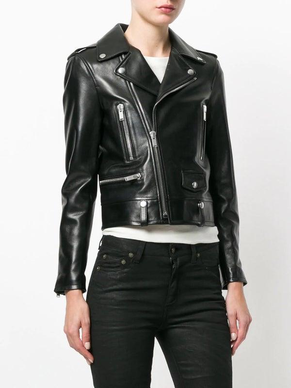 dc42d9b0fdf Saint Laurent - Cropped Biker Jacket - Women