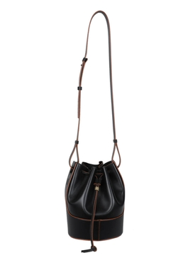 Small Balloon Drawstring Shoulder Bag BLACK