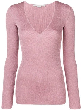Stella Mccartney - Metallic V-neck Jumper Pink - Women
