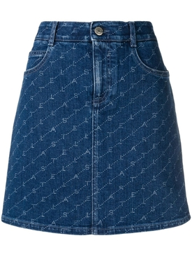 logo print denim skirt BLUE