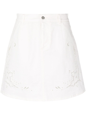 broderie anglaise short skirt WHITE