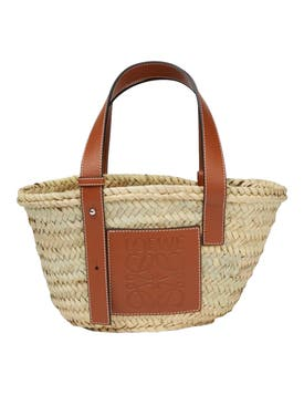 Loewe - Small Raffia And Leather Basket Bag - Women