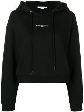 cropped logo printed hoodie BLACK