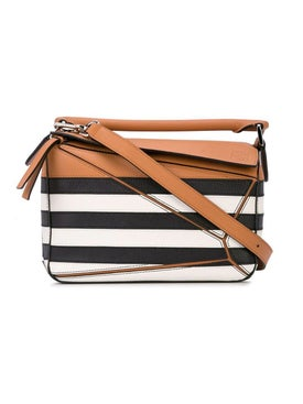 Loewe - Puzzle Black And White Striped Bag - Women