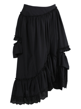 Simone Rocha - Black Asymmetric Frill Ruffled Skirt - Women