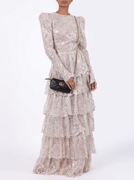 Tiered floral lace gown