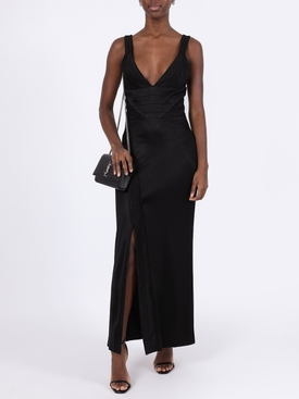 Black v-neck evening dress