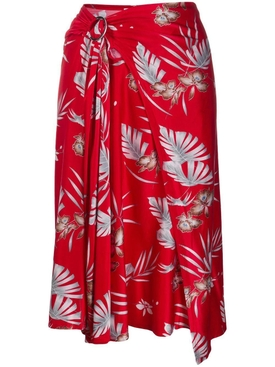 Paco Rabanne - Red Floral Draped Midi Skirt - Women