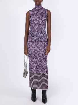 Purple lurex midi skirt
