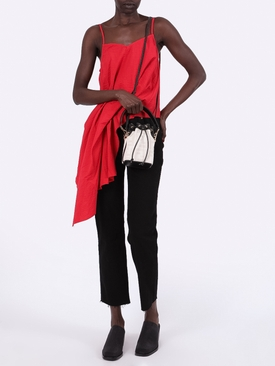 Red draped slip top