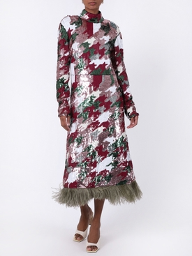 Gala Houndstooth Sequin Dress