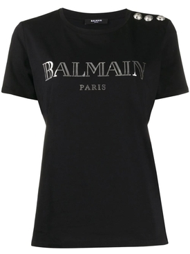 Balmain - Iconic Buttoned Logo T-shirt - Women