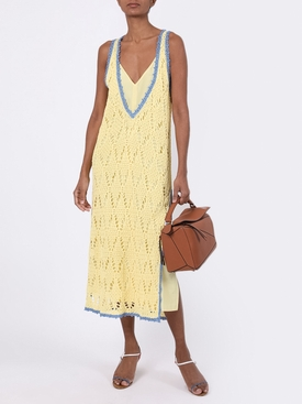 Contrasted seam crochet dress