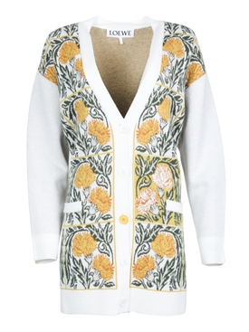 Over-sized carnations cardigan