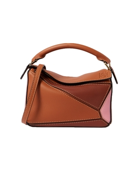Color block Mini Puzzle Handbag TAN