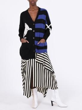 Blue and black asymmetric cardigan