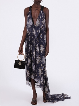 Navy Astral Print Asymmetric Dress