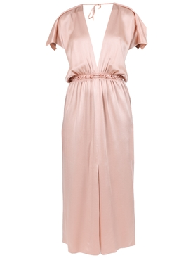Satin blush v-neck dress