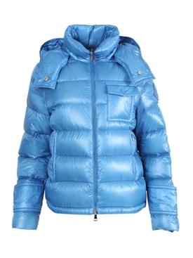 Shiny blue down jacket