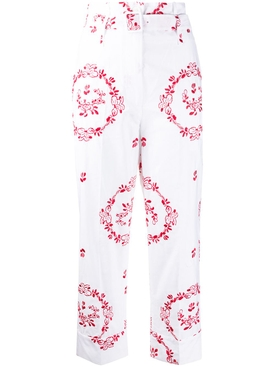 Simone Rocha - White And Red Embroidered Pants - Women