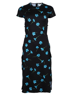 Black floral print mid-length dress