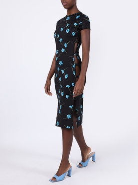 Black floral print mid-length dress