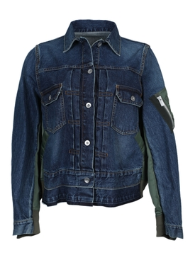 Blue and green denim bomber jacket
