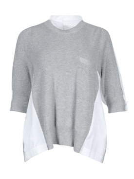 Grey and white crew neck top