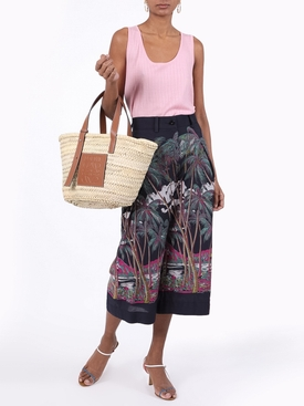 Beach print cropped trousers