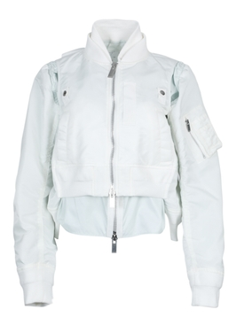 White zipped satin jacket