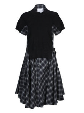 Black Ombre Check Print Dress