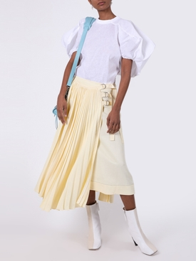 Pale Yellow Pleated Buckle Skirt