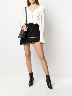 Deconstructed belted trench skirt BLACK