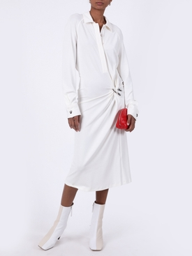 White gathered shirt dress