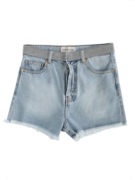 Crystal belt denim shorts