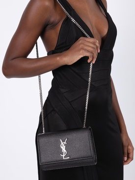 Grained leather Kate bag black