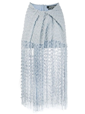Jacquemus - La Capri Fringed Skirt Blue - Women