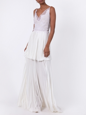 White Lace Pleated Gown
