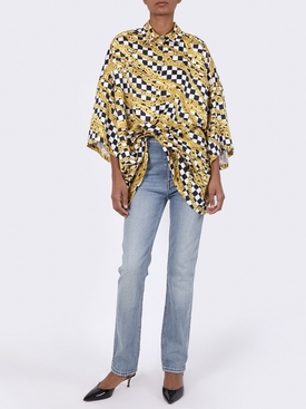 Chain print checkered shirt