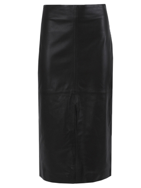 Front slit leather pencil skirt