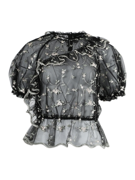 Simone Rocha - Sheer Floral Embroidered Top - Women