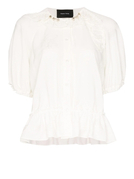 Ivory bubble button-up blouse
