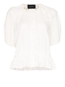 Ivory bubble button-up blouse
