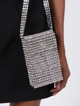 CRYSTAL FLAPPER MINI BAG, silver